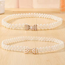 Newly Design Women's Fashion Elegant Faux Pearl Beads Rhinestone Charms Waist Belt Strap Dress accessories Drop Shipping