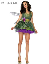 MOONIGHT 3 Pcs Woodland Green Gorgeous Fairy Princess Tinkerbell Dress Halloween Party Costume Medieval Costume Renaissance(China)