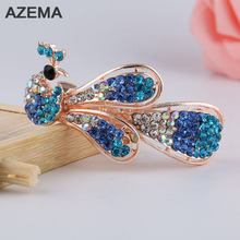 2017 New Fashion Women Exquisite Stone Animal Peacock Hair Clip Hair Accessory Beautiful Gifts For Women Hair Jewelry FJ-12-6(China)