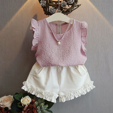 Chiffon Toddler Kids Baby Girls Tops T-shirt Short Pants Outfits Casual Clothes Sleeveless Summer Children Girl Costume(China)