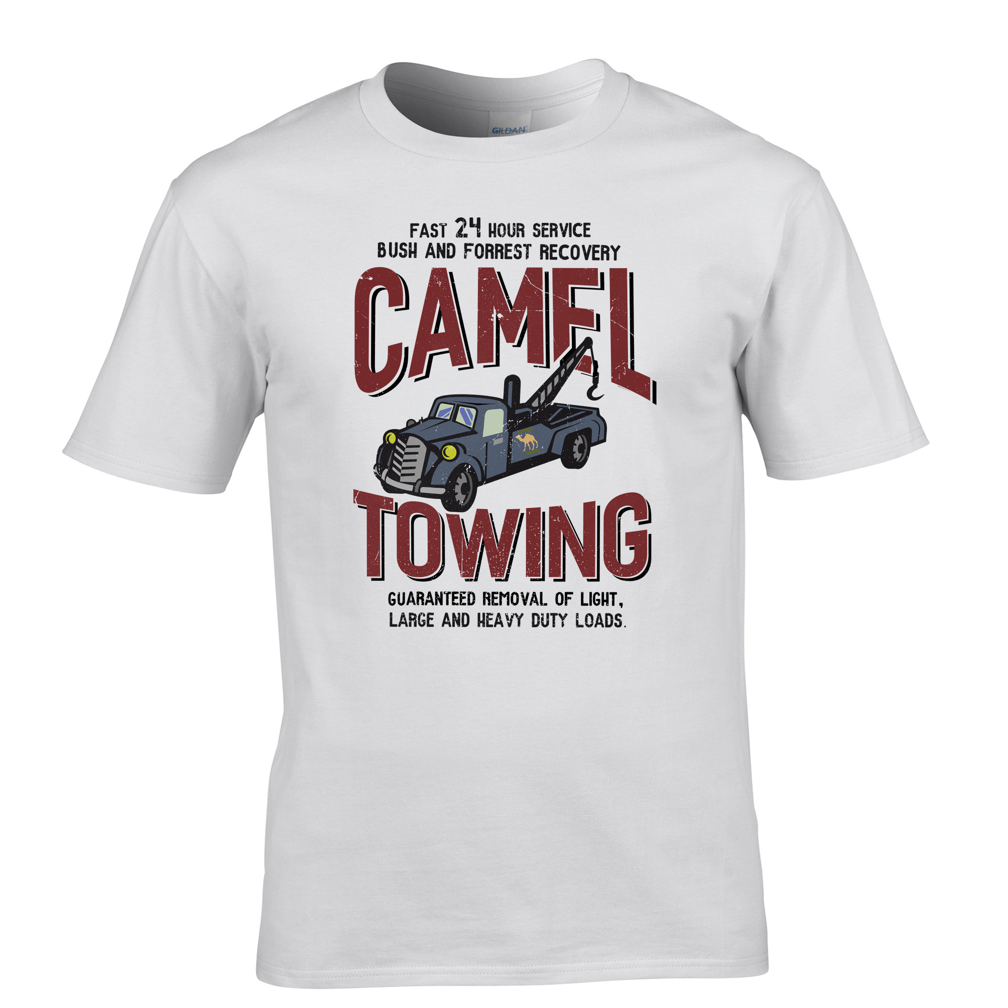 Custom Shirts Online Camel Towing Vintage Mechanic Tow Truck Recovery Heavy Load Men'S Casual O-Neck Short-Sleeve Tee Shirts(China (Mainland))