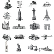 Mini Diy Fun 3D Metal Puzzle Tank Destroyer Bomber Fairy Tale Building Adult Assembly Model Jigsaw Children's Educational Toys