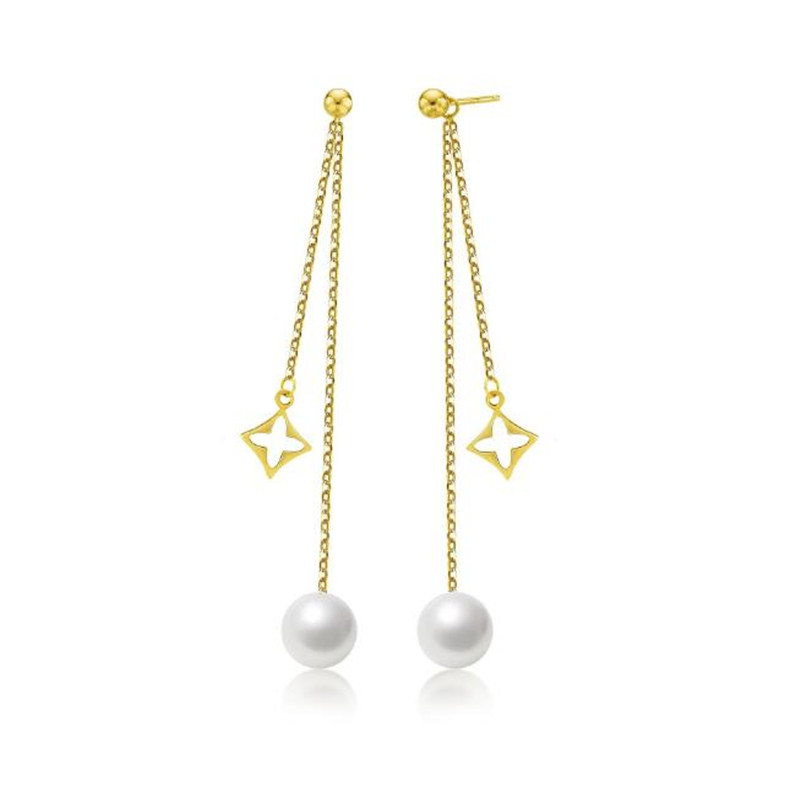 18K Yellow Gold 7.50-8.00mm Natural Cultured Freshwater Pearl Long Tassels Earring Drop Dangle Earrings For Women Wedding Bijoux