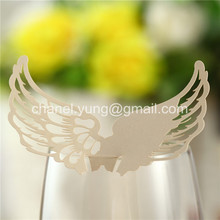 100pcs Laser Cut Name Place Card Cup Paper Card Table Mark Wine Glass Wedding Party Decoration Angel Wings Shape Paper Craft