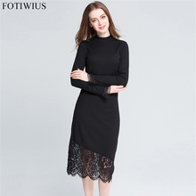 Buy L-5XL Plus Size Women Clothing 2017 Autumn Winter Sweater Dress Lace Hem Slim Black Long Knitted Pencil Dresses Robe Femme for $24.74 in AliExpress store