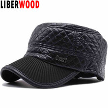 LIBERWOOD Men's Winter PU leather Thick Warm Hat Cap With Ear Flap Outdoor sports autumn flat top cap with Earflap Peaked hat(China)