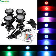 4Pcs RGB LED Fish Tank Light Remote Control 36LED 12W IP68 Waterproof Underwater Garden Pond LED Aquarium Spotlight Lighting(China)