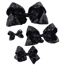 "1 Set(4pcs)3""4""6""7"" Girl Rhinestone Grosgrain Ribbon Hairbow Hair Accessories With Alligator Clip Handmade Diamond Kids Hair Bow(China)"