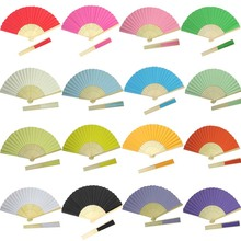 50pcs L21*W37cm Bamboo Ribs Paper Hand Fan wedding decoration party favor promotion gifts DIY paper crafts(China)