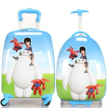 Boys Girls White Baymax Rolling Luggage/Children Big Hero 6 School Bag With Wheels/16'' 18''  Cartoon Brand Travel Suitcase