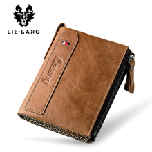 LIELANG Genuine Leather Men Wallet Crazy Horse Short Coin Purse Small Vintage Wallets Brand High Quality Cow Leather Male Wallet(China)