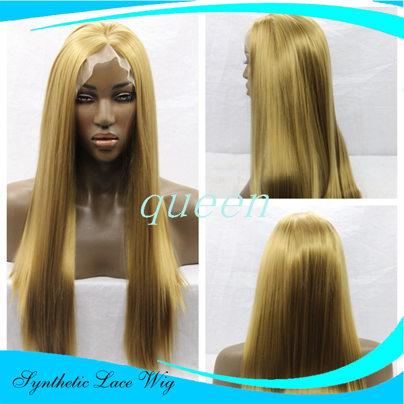 perucas sintetica  blonde front lace natural straight wigs synthetic lace front wig heat resistant fiber in stock free shipping<br><br>Aliexpress