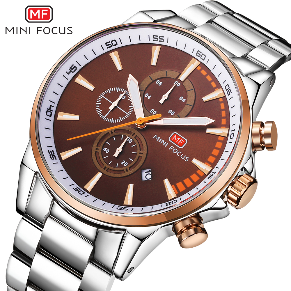 MINIFOCUS Brand Men Watches Luxury Sport Quartz 30M Waterproof Watches Mens Stainless Steel Band Auto Date Wristwatches Relojes<br>