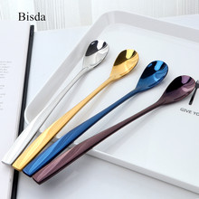 Hot 2PCS Ice Spoons Colourful Stainless Steel Blue Ice Tea Spoon With Long Handle Gold Spoons Set for Ice Cream Metal Tableware
