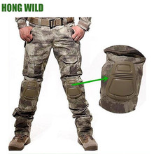 Hong wild US tactical military army Camouflage male baggy cargo pants with knee
