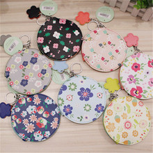 12*12cm Creative Cute Floral Coin Purse with Key Chain PU Leather Flower Pattern Zipper Change Wallet Portable Girls Coin Bags