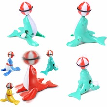 Mini Funny Dolphin Rotated Ball Colorful Baby Kid Wind Up Clockwork Spring Toy For Newborn Baby Bath Toy Random Color(China)