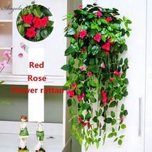 Artificial Ivy Leaf Rose flower vine rattan Garland Plants wall Hanging Garland Wedding Living Room balcony Foliage decoration(China)