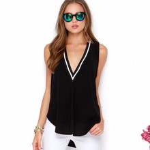 2017 Women Summer Blouses Shirts Lady Girls Casual Sleeveless Deep V-Neck Long Blusas Plus Size S-6XL DF1053