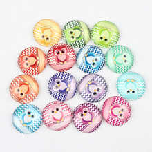 50Pcs 25mm Mixed Chevron Zig Zag Owl Photo Glass Cabochons 1inch Flat Round Glass Dome Cartoon Animal Images