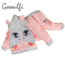 Winter Baby Girls Clothing Sets Warm Soft Hoodies Kitty Flannel Coral Fleece Kids Clothes Toddler Girl Clothing Sets in Pink