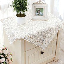 [WIT]85x85cm Hollow Lace White Tablecloth Multi-purpose Embroidered Towels TV Refrigerator Washing Machine Cover Cloth 1pc