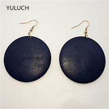 personality New design Big handmade Natural african Blue wood earrings jewelry(China)