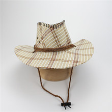 Two Colors Straw Cowboy Hats For Women Adjustable Lattice Tea Stained Raffia Straw Cowboy Caps(China)