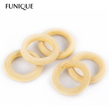FUNIQUE 56mm wood teething beads  Wooden Beads Baby Teether Ring DIY Pacifier Clip & Kids Jewelry & Toss Games 20PCs