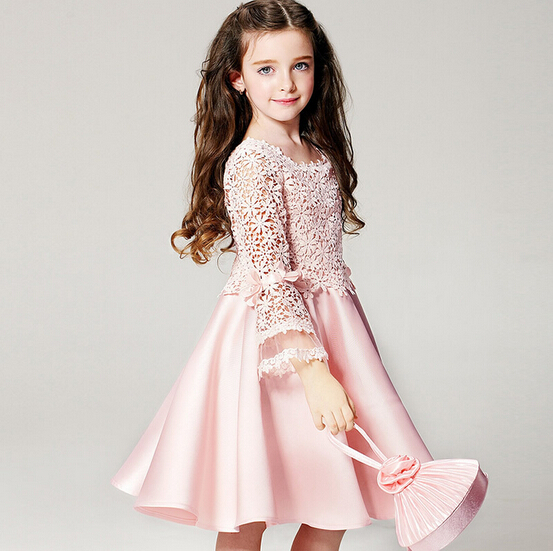 Wholesale Girls High Quality Lace Princess Dresses Children Pink Long Sleeve Birthday Party Dresses Flower Baby Dresses<br>
