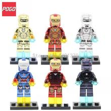 POGO Patriot DG Golden Super Heroes Avengers Marvel Figure Iron Man MK 21 42 Mark 21 Building Blocks Bricks Toys Gifts