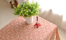 Pink Small Floral printing Cotton rectangle tablecloth cover for cafe resturant Party Home table cloth textile decoration 7 size