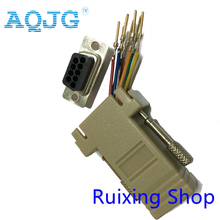 AQJG 10pcs RS232 DB9 male to RJ45 Female connector Adapter RJ45 to DB9 RS232 com LAN TO 232 db9 RS232 to RJ45(China)