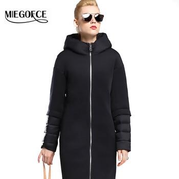 Miegofce 2016新しい冬の女性ダウンコートジャケット暖かい高品質女性ダウンパーカーフード付き冬コートでスタンドアップ襟