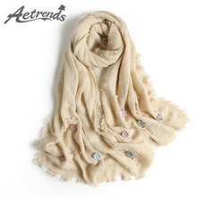[AETRENDS] 2017 New Winter Scarves Women Classic Floral Cashmere Feel Scarf Warm Scarfs Z-6146()