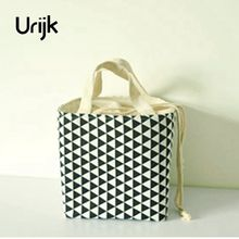 Urijk New Fashion Thermal Insulation Waterproof Portable Picnic Lunch Bag Insulated Linen Food Storage Box For Kid Women Men