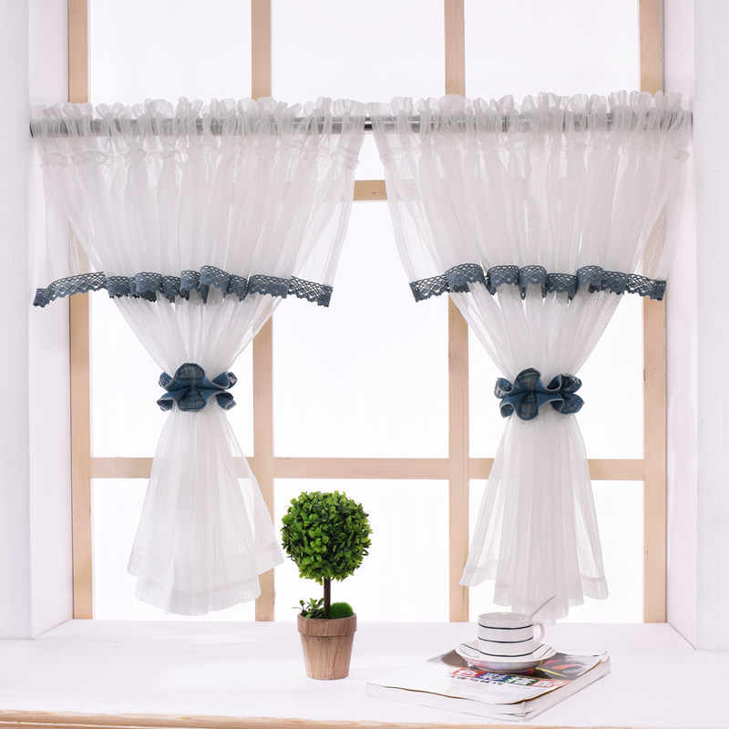 American Style Short Curtains Pelmet Window Sheer Kitchen White Tulle Curtain for Living Room Bedroom coffee yarn for Door