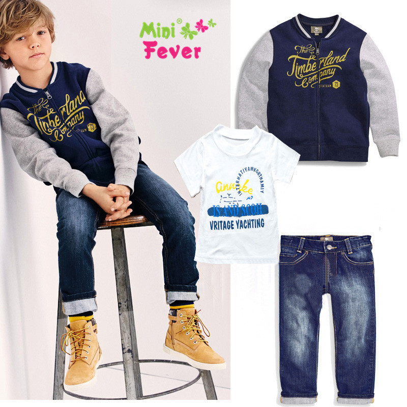 2015 new spring boys beautiful jeans wear clothes kids suits children boys jacket+T-shirt +denim pants 3pcs Clothing Set<br><br>Aliexpress