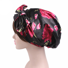 Bowknot Turban Pre Tied Fitted silk satin Bandana Chemo cap Head for hair loss patients Womens night sleeping cap head wrap(China)