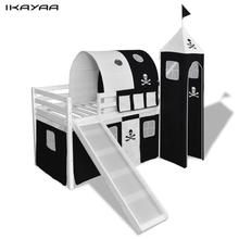 iKayaa loft bed with ladder slide white pirate theme Childeren's Bed FR Stock