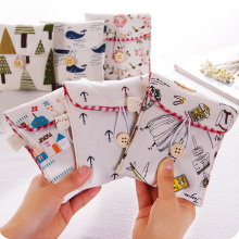 1pc Pastoral Style Sanitary Towel Storage Bag Cotton Thickened Health Cotton Girls Aunt Towel Bag