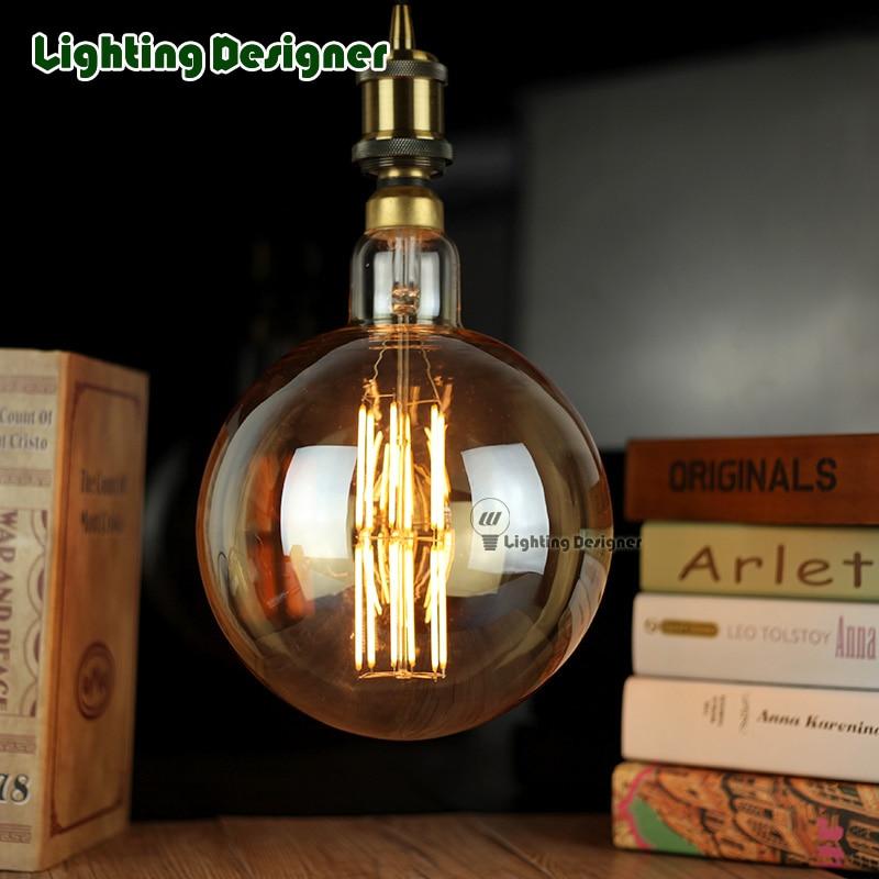 G200 globe oversized edison bulb vintage lamp LED light source 220V 6W dimmable decorative bulb led filament vintage lamp<br><br>Aliexpress