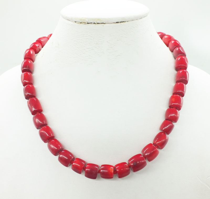11mm Red coral necklace, Handmade jewelry,  Valentine