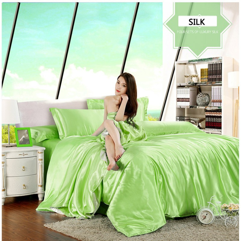 HOT! 100% pure satin silk bedding set,Home Textile King size bed set,bedclothes,duvet cover flat sheet pillowcases Wholesale 15
