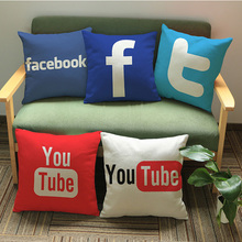 Modern enterprise custom logo cotton linen decorate waist pillowcase youtube Office sofa cushion cover Company Gift Pillow 45*45