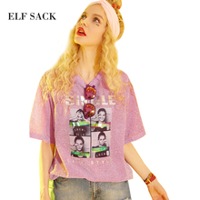 ELF SACK 2017 Summer Bling Metal Color Tee Shirts Women Character Print Short Sleeve T-shirts Female Loose Plus Size Womens Tops