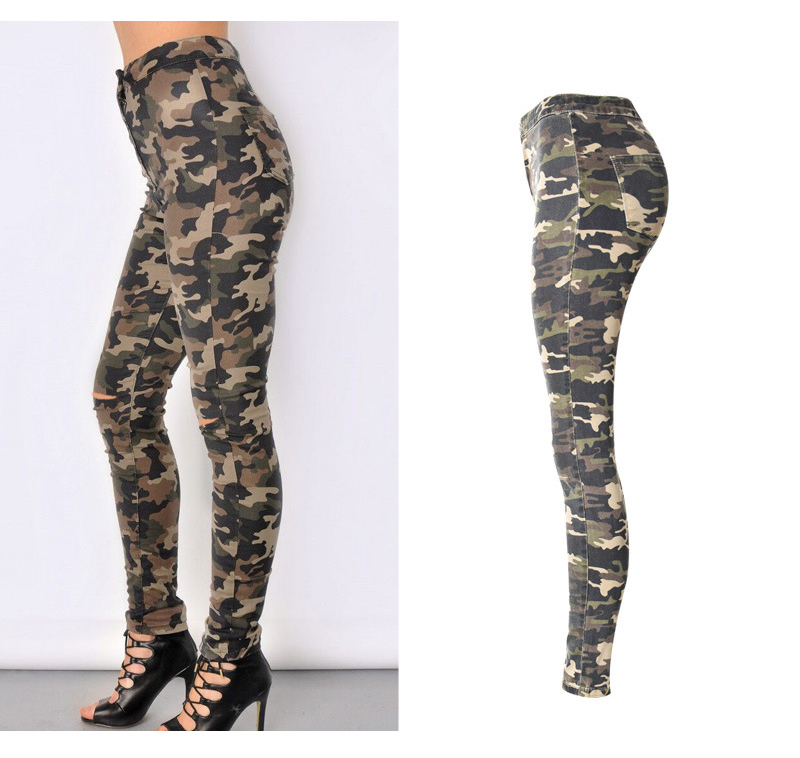 2017 New Brand Women Fitness Cloth Camouflage High Waist Elastic Stretch Holes Jeans Pencil Pants Street Style Denim Trousers (3)