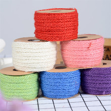 5 Meters 1cm Wide Eco Colorful Jute Braided Cord Gift Box String DIY Craft Material BJ04(China)