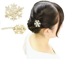 H35-016 10pcs/Lot Free Shipping girls goody classic hair jewelry accessories gold and silver plated snowflake hair clips(China)