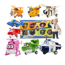 9pcs/set Super Wings toys Mini Planes 7cm Transformation Robot Action & Toy Figures baby toys for Christmas gifts(China)